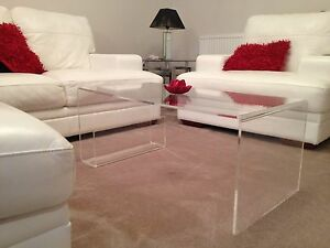 Large Clear Acrylic Perspex Plastic Glass Coffee Side Table