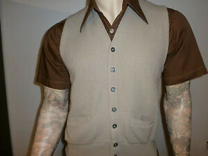vtg-ALPACA-KNIT-CAMPUS-SWEATER-VEST-Button-Front-Tan-Made-In-USA-Mod-50s-60s