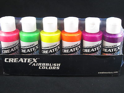 Createx Airbrush Paint Lot Of 6 Fluorescent 2 Oz 60ml Bottles Neon Colors