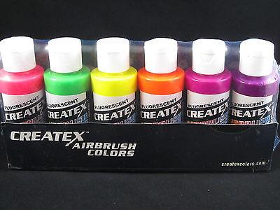 Createx Airbrush Paint Lot Of 6 Fluorescent 2 Oz 60ml Bottles Neon Colors