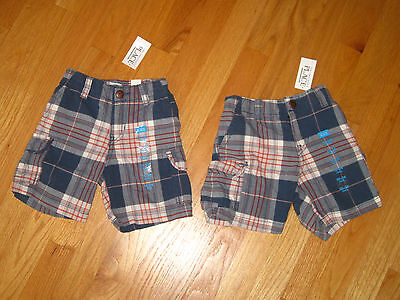 Twin Boys Tcp Blue White Orange Stripe Plaid Cargo Shorts 18m