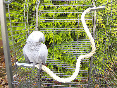 "42"" Sisal Rope Perch anti-chew ends for Parrots -African Grey, Amazon Cage"