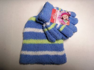 Glove & Hat Set, One Size Fits Most, Blue, White, & Green,