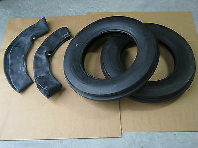 2 NEW 5.00-15 TRI TREAD FRONT TRACTOR TIRES + INNERTUBES 500X15 3 RIB 500 on Rummage