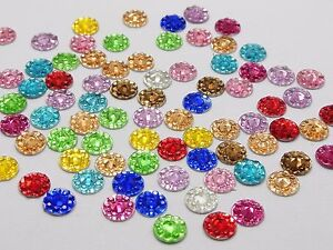 500 Mixed Color Acrylic Flatback Round Rhinestone Gems 6mm Embellishments