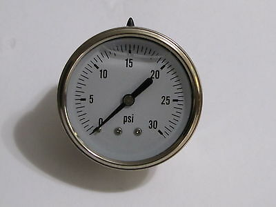 New Hydraulic Liquid Filled Pressure Gauge 0-30 Psi 14 Npt Center Back Mount