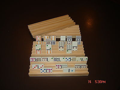 Handmade Wooden Domino Holders Mexican Train 4Rows New