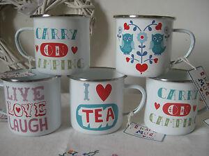 Retro enamel camping mug kitsch 4 designs picnic festival for Quirky retro gifts