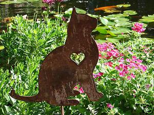 Pet cat memorial garden stake yard lawn ornament feline for Cat yard art