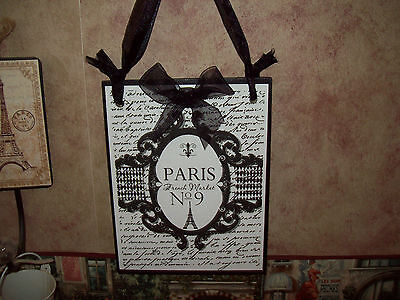 Shabby Paris chic French Market plaque sign French decor wall hanging cottage
