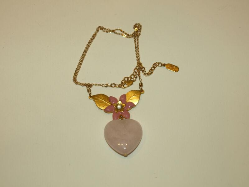 Signed Jill Jacobson Gold Toned Pink Enamel Pink Quartz Heart Pendant Necklace