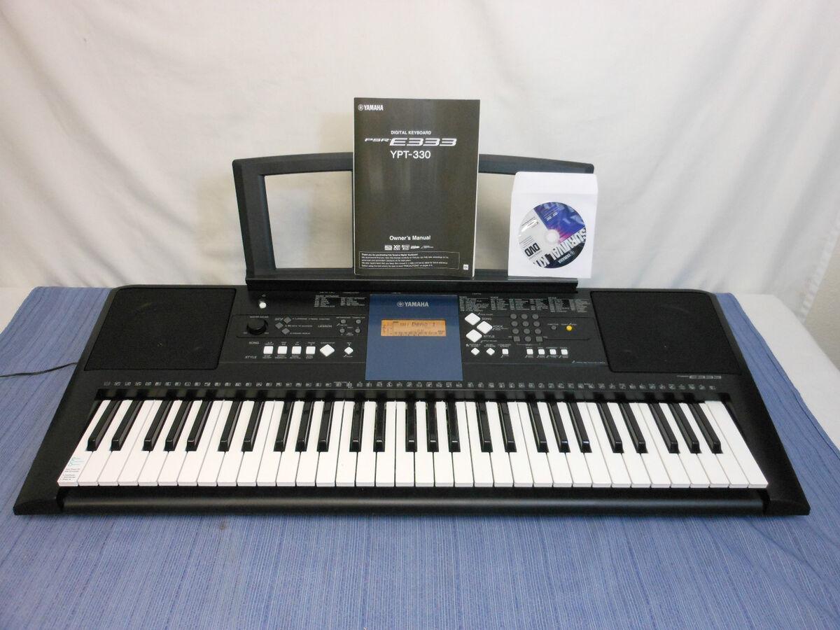 Yamaha PSRE333 Portable Keyboard 61 Touch Sensitive Keys w AC Adapter