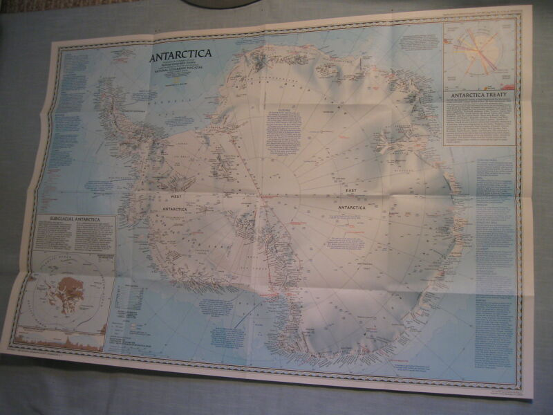 PINNIPEDS + ANTARCTICA SOUTH POLE MAP 1987 National Geographic Sea Lions Walrus
