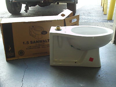 (1) 3-480E Immaculate Crane Sanwalton Elongated Toilet 1.5 Gallon Top Spud No Settle