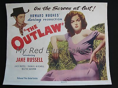 The Outlaw 1943 Howard Hughes Present Jane Russell Half Sheet