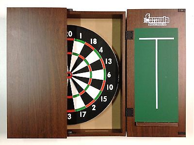 Dart Board Set Walnut Dart Board Cabinet And Tx100 Dart Board + 6 X Darts