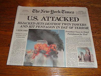 2 Copies New York Times September 12, 2001, 9 - 11, World Trade Center $31.99 !