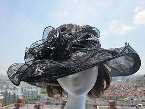 Women Vintage Dress Church Wedding Kentucky Derby Wide Brim Hat 8 color Organza