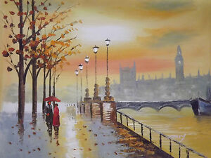 romantic lovers couple london large original oil painting canvas cityscape art