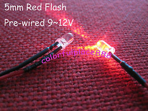 10-5mm-Red-Flash-Flashing-Blink-9V-12V-DC-Pre-Wired-Water-Clear-LED-Leds-18CM