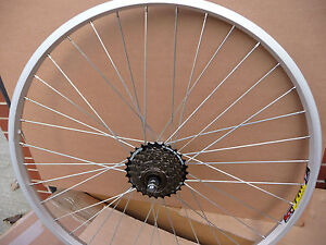 26-ALLOY-REAR-MOUNTAIN-BIKE-WHEEL-COMPLETE-WITH-7-SPEED-SHIMANO-FREEWHEEL-NEW