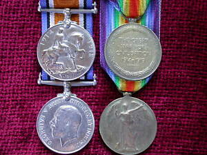 Replica-Copy-Medals-WW1-Pair-British-War-Victory-Medals-FULL-SIZE-age-toned