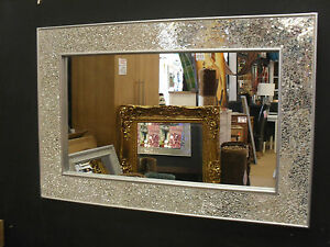 Crackle Design Wall Mirror Plain Silver Frame Mosaic Glass 90X60cm