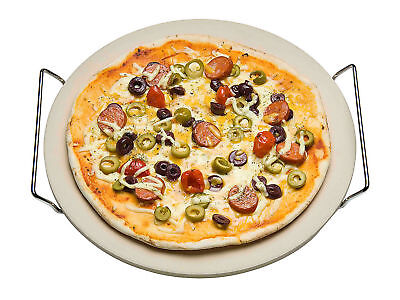 Pizzastein + Gestell 33cm - Pizza Steinplatte Brot Backstein Backofen Grillstein