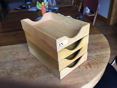 4 Vtg Oak Wood Dovetail Mail Sorter Organizers In Out Desk Top Letter Trays