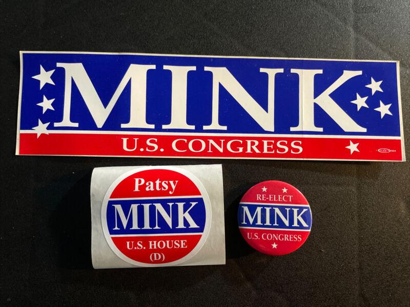 PATSY MINK OF HAWAII U.S. CONGRESS BUTTON, BUMPER STICKER, AND STICKER~LOT OF 3