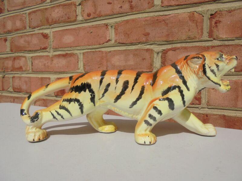 "VIntage Mid Century Hand Painted Ceramic Bengal Tiger Figure 11 1/2"""