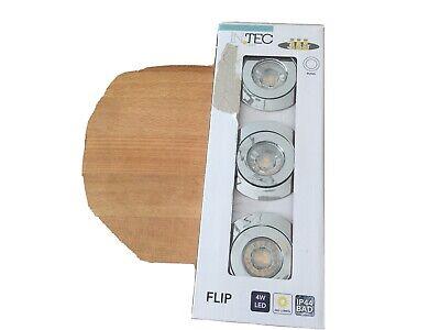 Intec Flip 3er Set Einbaustrahler IP44 Bad, 4W LED Neu Chrom
