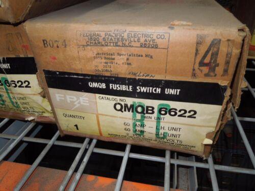 Fpe Qmqb6622 60a Twin 1ph 2p 240v Fusible Switch Unit New Surplus W/ Hardware