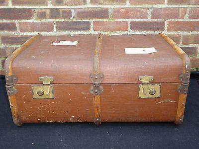 Vintage Retro Brown Steamer Trunk Chest Storage Box Coffee Table Suitcase