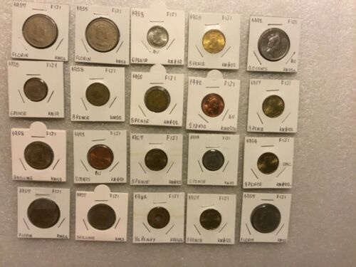FIJI Collection of 20:1942-1992 ~Shilling,Florin,Pence,Cents Collectible Coins
