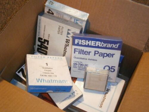 Lot of 14  New & Partial Boxes Filter Paper Whatman Fisher Laboratory Lab