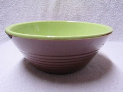 VINTAGE WATT POTTERY BROWN EXTERIOR & LIME GREEN INSIDE GLAZED BOWL BOWLS