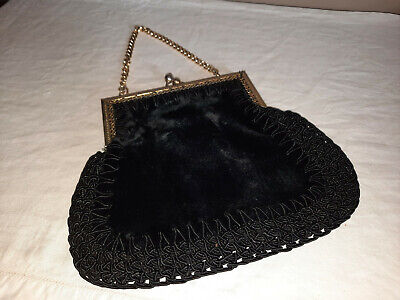 1940s Handbags and Purses History VINTAGE Made in Italy Black Velvet Crochet Small Evening Purse Chain Link Strap $36.42 AT vintagedancer.com