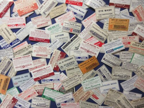100+OLD PHARMACY-APOTHECARY-MEDICINE BOTTLE LABELS=EPHEMERA=NICE SELECTION