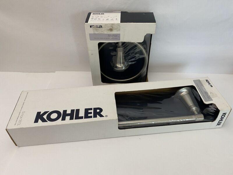 "Kohler R11057-BN Archer Towel Ring & 18"" Towel Rack R11050-BN Brushed Nickel"