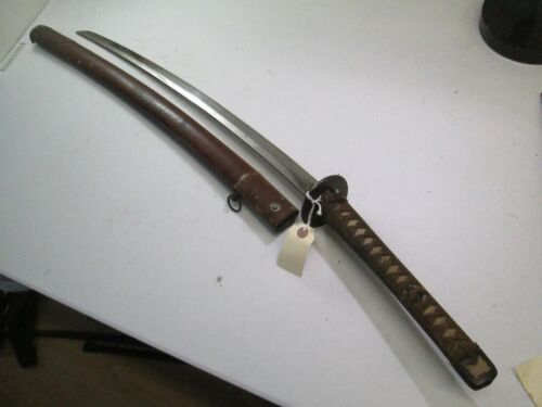 WWII JAPANESE CIVLIAN SAMURAI SWORD W SCABBARD OLD HAND FORGED BLADE MOUNTS C32