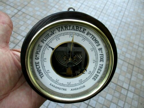 Antique Maritime Old Ship Salvage French Museum Barometer Aneroid Wood Frame