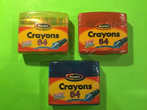 Color Gear by Rose Art 64 Crayons With Sharpener 1999 2002 Lot Of 3 New