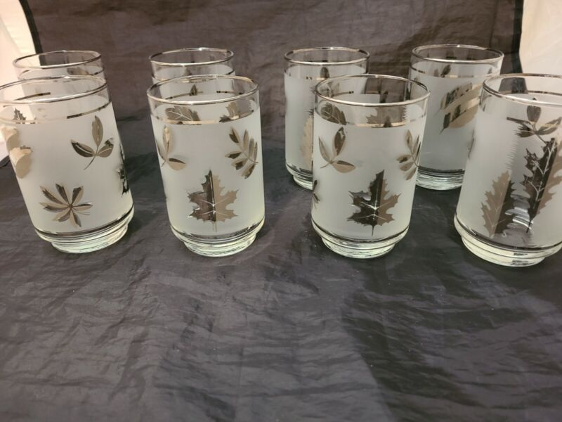 8 Vintage Libbey Frosted Bronze/Silver Leaf Low Ball On The Rocks Glasses 8 0z