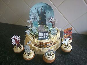 Halloween Haunted House Scene **WAFER** Edible Cake Decoration Set