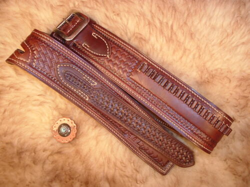 NOS VINTAGE #79B GEO LAWRENCE TOOLED LINED LEATHER BUSCADERO BELT FOR .22 CAL.