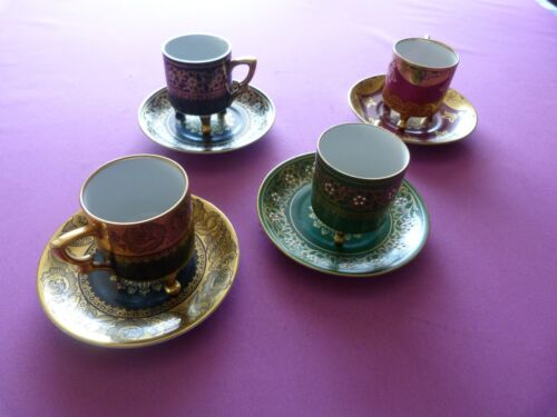 Mitterteich Bavaria Footed Demitasse 4 Cups and Saucers 4