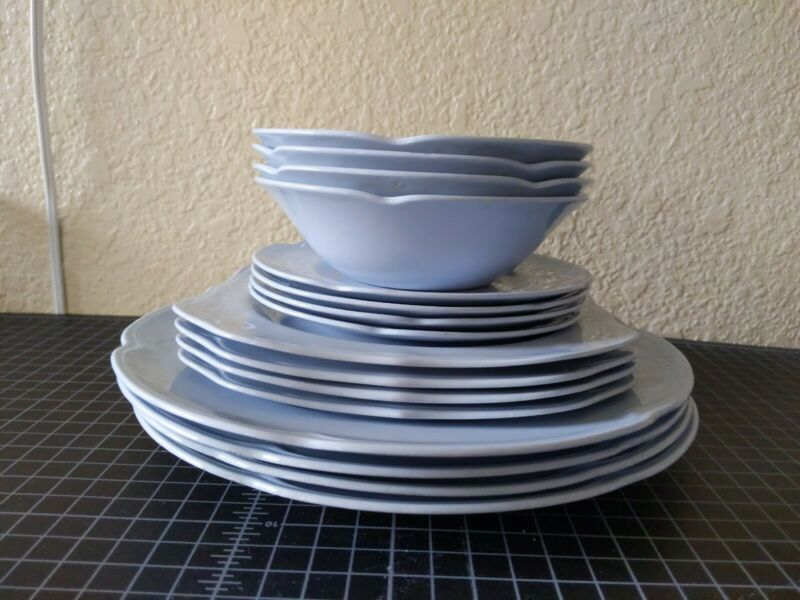 Vintage Johnson Brothers England China Greydawn Plate and Bowl sets of 4