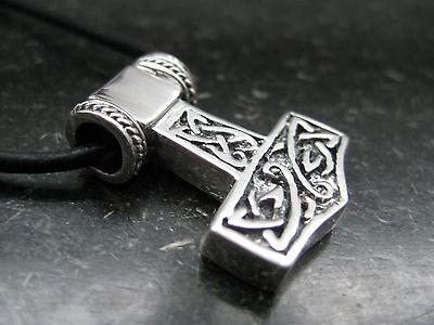Thor s Hammer 925'er Silber + Echtlederband Anhänger Wikinger beidseitig / KA172