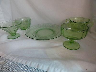 5 pc Lot Green Depresssion Glass Assort Patterns
